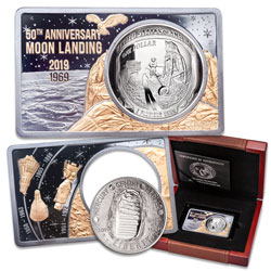 2019 Apollo 11 Silver Dollar in 2 oz. Apollo 11 50th Anniversary Gold-Plated Silver Bar