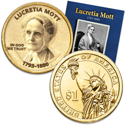 "Prominent Women ""Golden"" Colorized Presidential Dollar - Lucretia Mott"