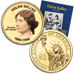 "Prominent Women ""Golden"" Colorized Presidential Dollar - Helen Keller"