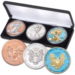 2019 Silver Eagle Dollars - Red, White & Blue