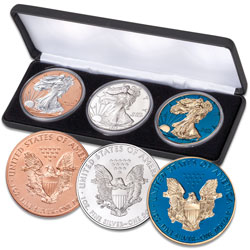 2020 Silver Eagle Dollars - Red, White & Blue