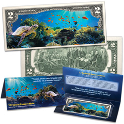 Colorized $2 Federal Reserve Note - Coral Reef