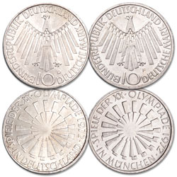 1972 Germany Silver 10 Marks Olympics Error and Corrected Coin Set