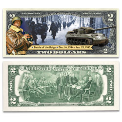 Colorized Allied Victories of WWII $2 Federal Reserve Note - Battle of the Bulge