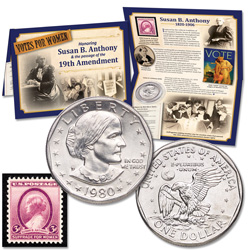 Susan B. Anthony Coin & Stamp Set