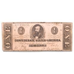 1862 $1 Confederate Note