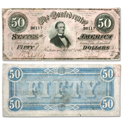 1864 $50 Confederate Note
