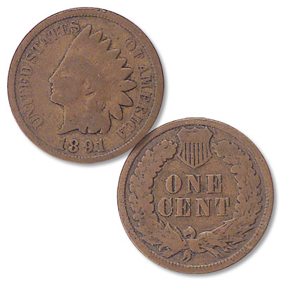Image for 1891 Indian Head Cent, Variety 3, Bronze from Littleton Coin Company