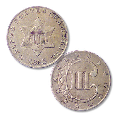 Image for 1852 Silver Three-Cent Piece, Variety 1 from Littleton Coin Company