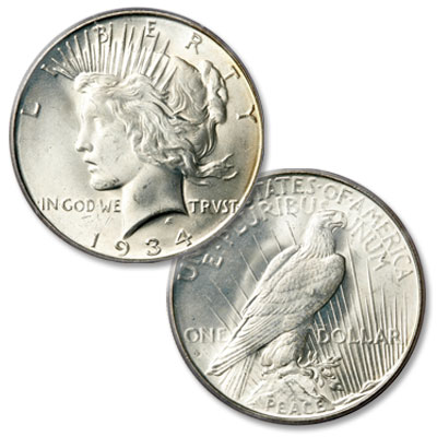 Image for 1934-D Peace Silver Dollar from Littleton Coin Company