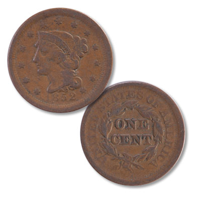 Image for 1852 Braided Hair Large Cent from Littleton Coin Company