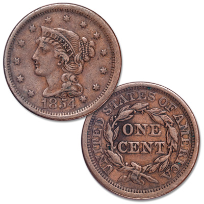 Image for 1854 Braided Hair Large Cent from Littleton Coin Company