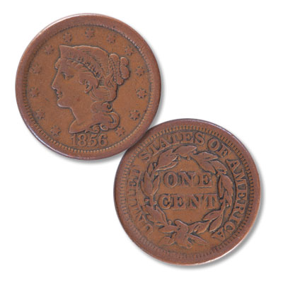 Image for 1856 Braided Hair Large Cent, Slanting 5's from Littleton Coin Company