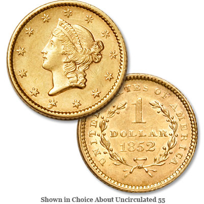 Image for 1852 Liberty Head Gold Dollar from Littleton Coin Company