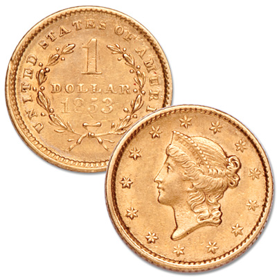 Image for 1853 Liberty Head Gold Dollar from Littleton Coin Company