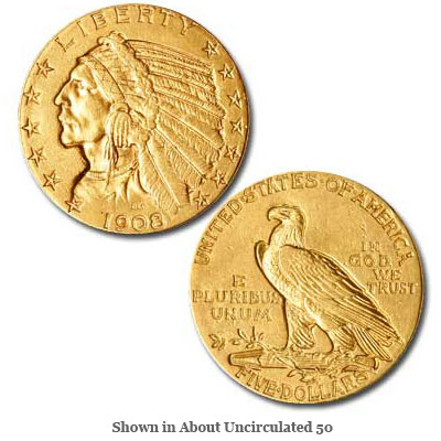Image for 1908 Indian Head $5 Gold from Littleton Coin Company