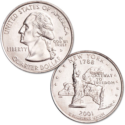 Image for 2001-D New York Statehood Quarter from Littleton Coin Company