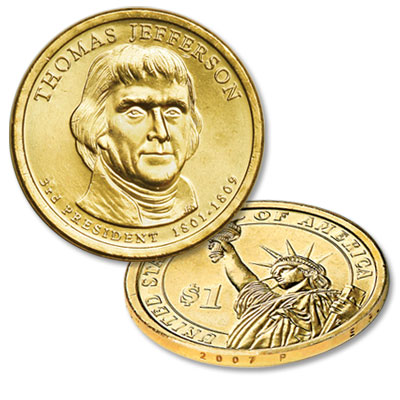 Image for 2007-P Thomas Jefferson Presidential Dollar from Littleton Coin Company