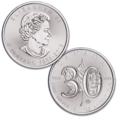 Image for 2018 Canada 30th Anniversary Silver $5 Maple Leaf from Littleton Coin Company