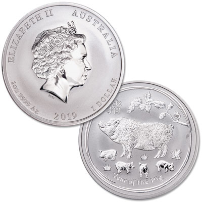 Image for 2019 Australia Silver $1 Lunar Series II - Year of the Pig from Littleton Coin Company