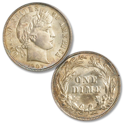 Image for 1907 Barber Silver Dime from Littleton Coin Company