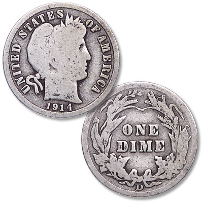 Image for 1914-D Barber Silver Dime from Littleton Coin Company