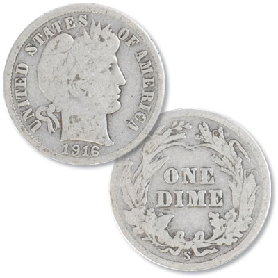 Image for 1916-S Barber Silver Dime from Littleton Coin Company