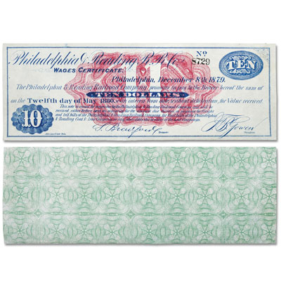 Image for 1879 Railroad Wage Certificate, New Unused from Littleton Coin Company