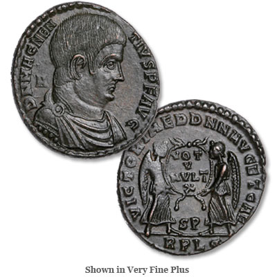 Image for A.D. 350-353 Magnentius Bronze Centenionalis, Victory Reverse from Littleton Coin Company