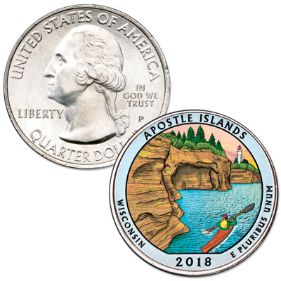 Image for 2018 Colorized Apostle Islands National Lakeshore Quarter from Littleton Coin Company