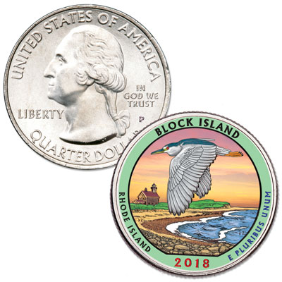 Image for 2018 Colorized Block Island National Wildlife Refuge Quarter from Littleton Coin Company