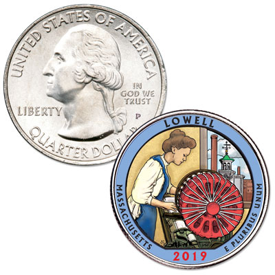 Image for 2019 Colorized Lowell National Historical Park Quarter from Littleton Coin Company