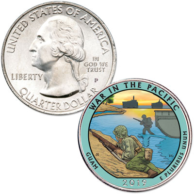 Image for 2019 Colorized War in the Pacific National Historical Park Quarter from Littleton Coin Company