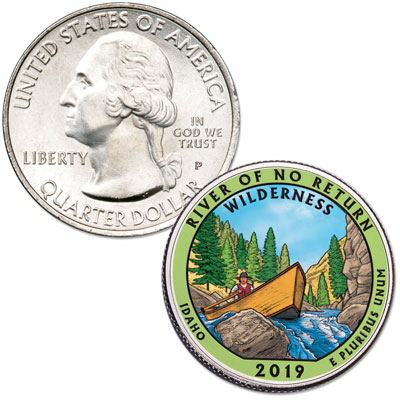 Image for 2019 Colorized Frank Church River of No Return Wilderness Quarter from Littleton Coin Company