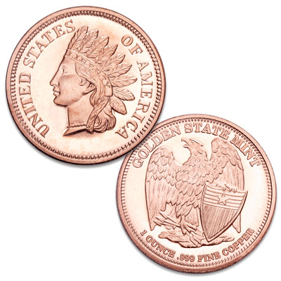 Image for Indian Head Cent 1 oz. Copper Round from Littleton Coin Company
