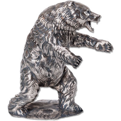 Image for 12 oz. Sterling Silver Grizzly Bear from Littleton Coin Company