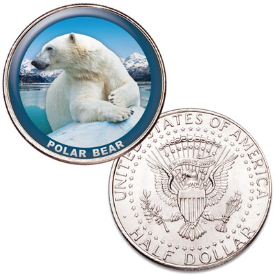 Image for Polar Bear Colorized Kennedy Half Dollar from Littleton Coin Company