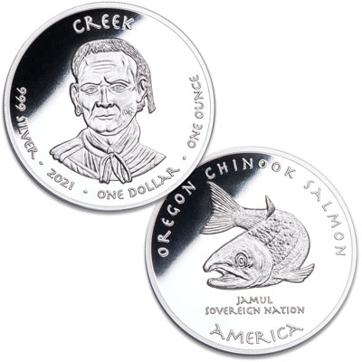 Image for 2021 Jamul Nation Creek & Salmon Silver Dollar from Littleton Coin Company