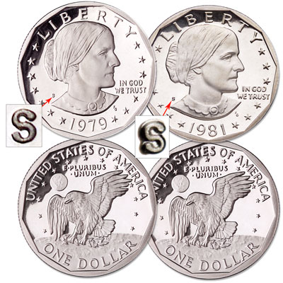 "Image for 1979 & 1981 Clear ""S"" Susan B. Anthony Dollar Set, Choice Proof, PR63 from Littleton Coin Company"