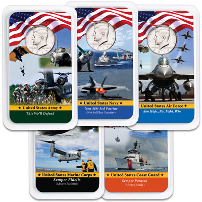 Image for All Five 2019 Kennedy Half Dollars in Armed Forces Showpaks from Littleton Coin Company