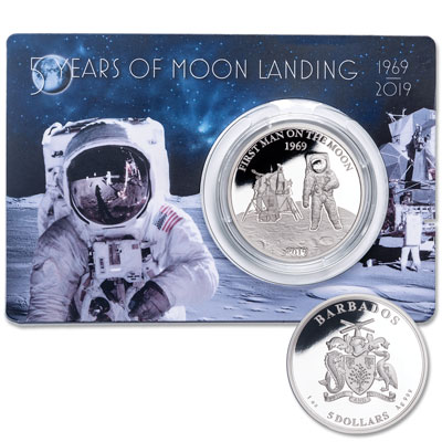Image for 2019 Barbados Silver $5 Moon Landing from Littleton Coin Company