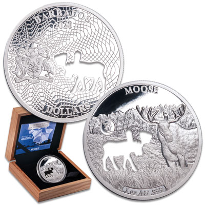 Image for 2020 Barbados Silver $5 Shapes of America - Moose from Littleton Coin Company