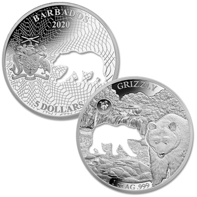 Image for 2020 Barbados Silver $5 Shapes of America - Grizzly from Littleton Coin Company