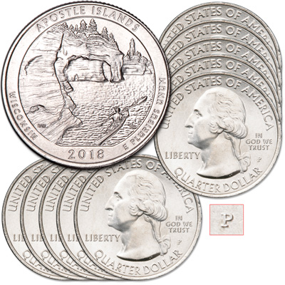 Image for 2018-P Ten Apostle Islands National Lakeshore Quarters from Littleton Coin Company