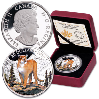 Image for 2018 Canada Silver $20 Majestic Wildlife - Cougar from Littleton Coin Company