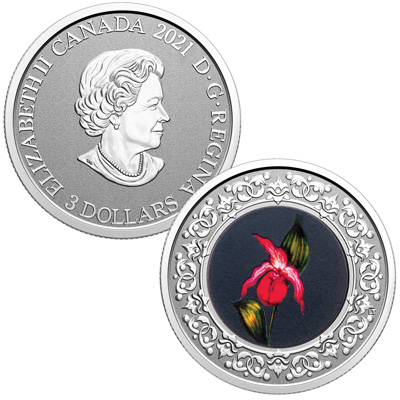Image for 2021 Canada 1/4 oz. Silver $3 Lady Slipper from Littleton Coin Company