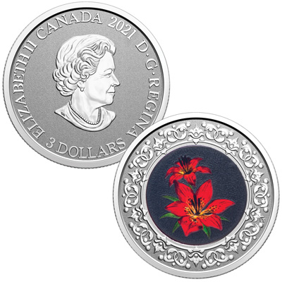 Image for 2021 Canada 1/4 oz. Silver $3 Western Red Lily from Littleton Coin Company