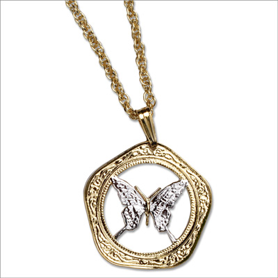Image for Butterfly Cut Coin Necklace from Littleton Coin Company