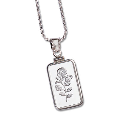 Image for 2.5 gram Silver Bar Rose Necklace from Littleton Coin Company