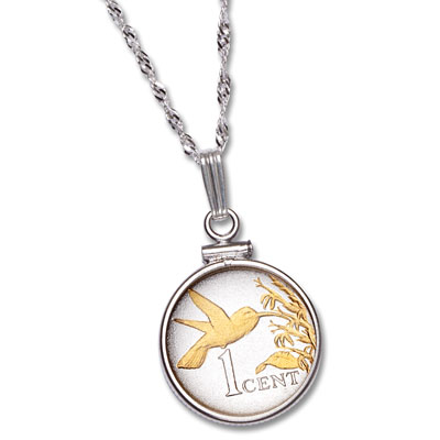 Image for Trinidad & Tobago 1 Cent Hummingbird Necklace from Littleton Coin Company